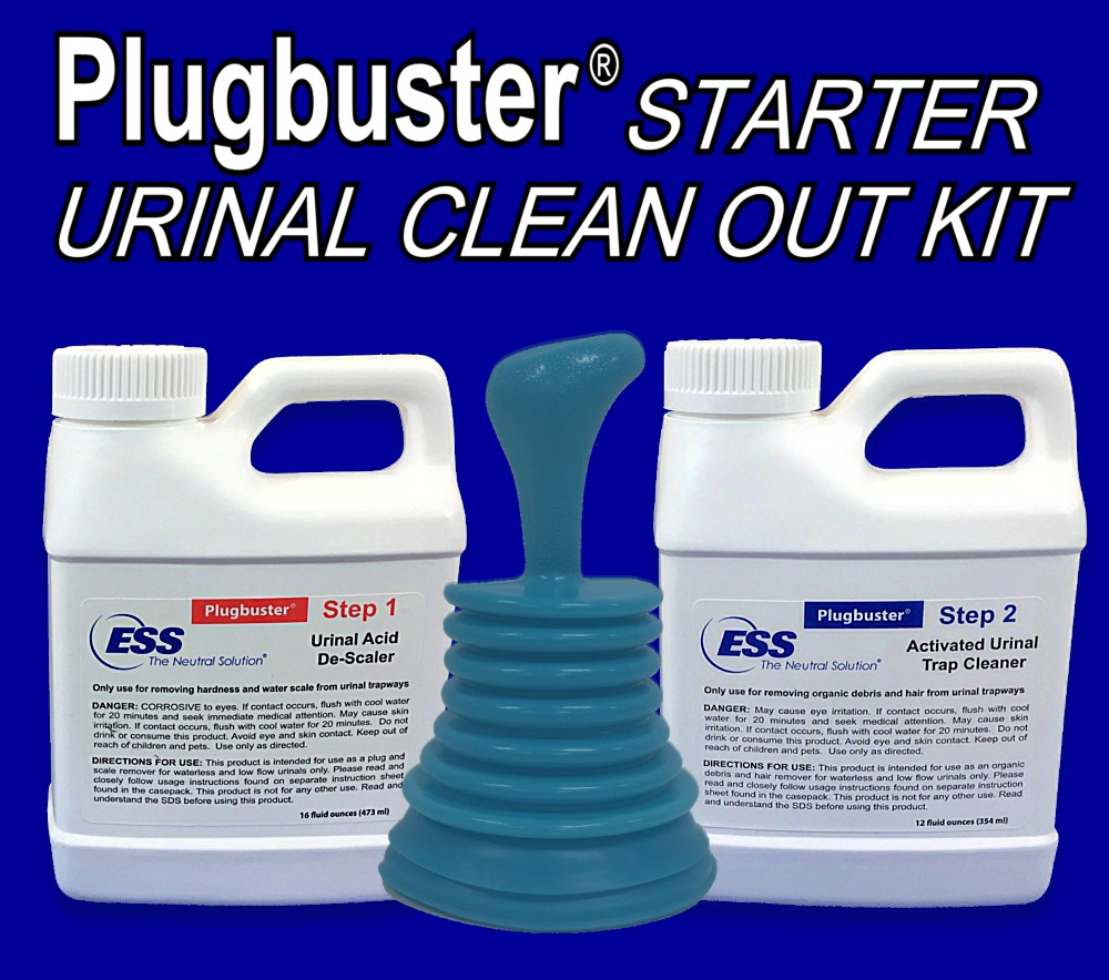 Plugbuster Commercial Grade Urinal Cleanout Kit (1 Treatment with Plunger) Used for Unplugging, Unclogging, Cleaning and Maintaining Low Flow Urinal Traps and Drains
